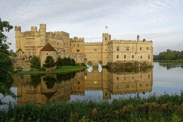 a castle on Leeds Castle over a body of water