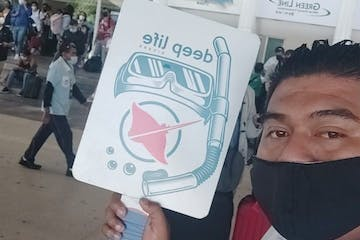 a person holding a sign