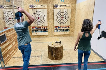 people axe throwing