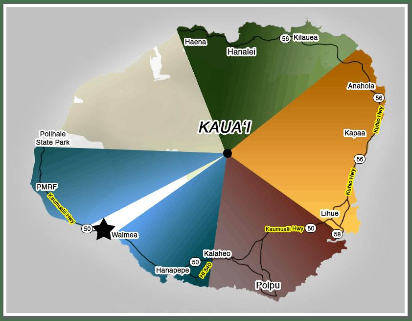 Kauai Map, West Side Harbor Kikialoa