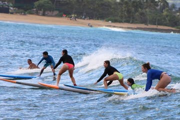 a group of people riding a wave on a surfboard in the water