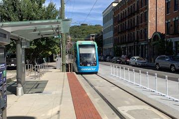 Cincinnati streetcar approaching station