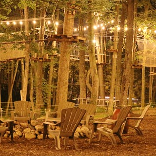 Our fire-pit and ropes course at night.