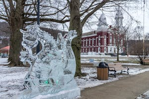 Ice sculpture of a dragon in Fountain Park in Franklin, Pennsylvania - near the Venango County Courthouse