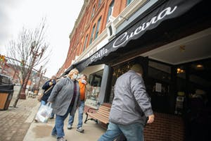 Patrons Enter Bella Cucina Restaurant in Franklin Pennsylvania