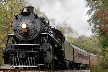 a steam engine train traveling down train tracks near a forest