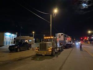 a truck on a city street