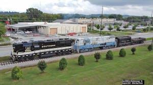 a train on a farm