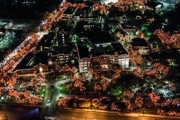 a view of a city next to a christmas tree