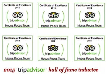 Hocus Pocus TripAdvisor Hall of Fame Graphic