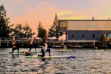 Group of women practicing yoga on the water using stand up paddle boards during sunset