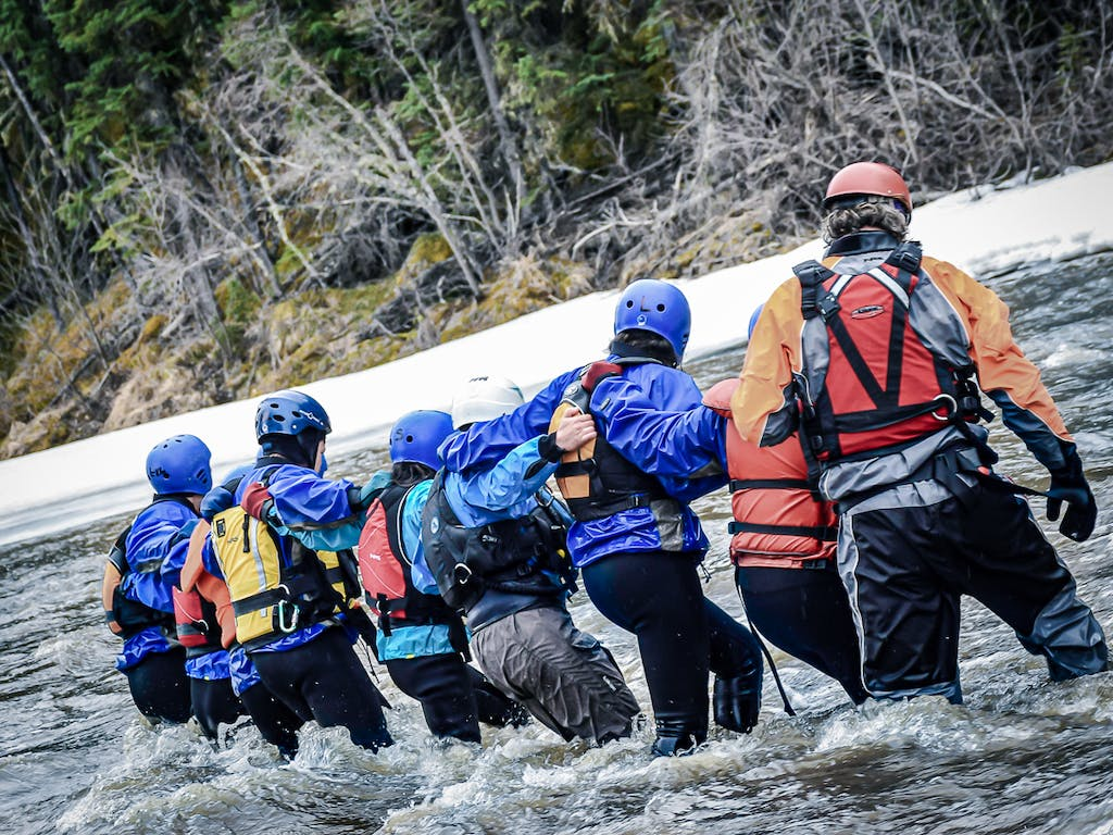 Group training - swiftwater river crossing.