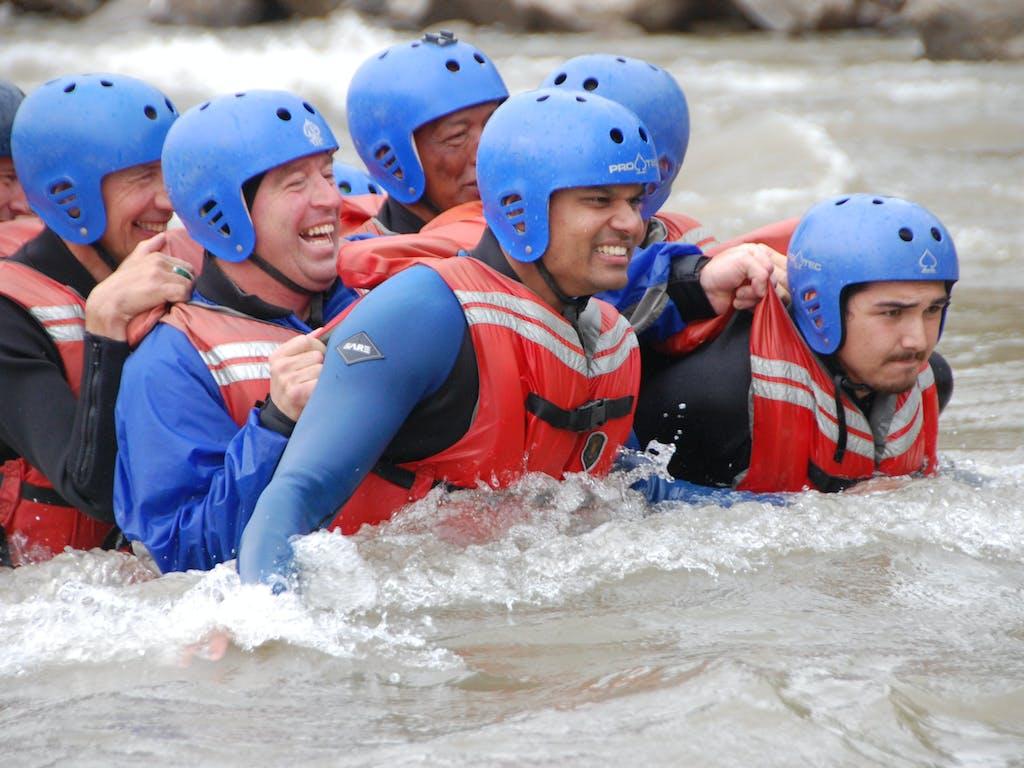 Deep river crossing training.