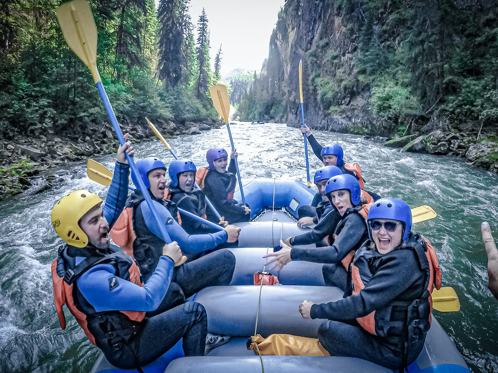 white water rafting with friends