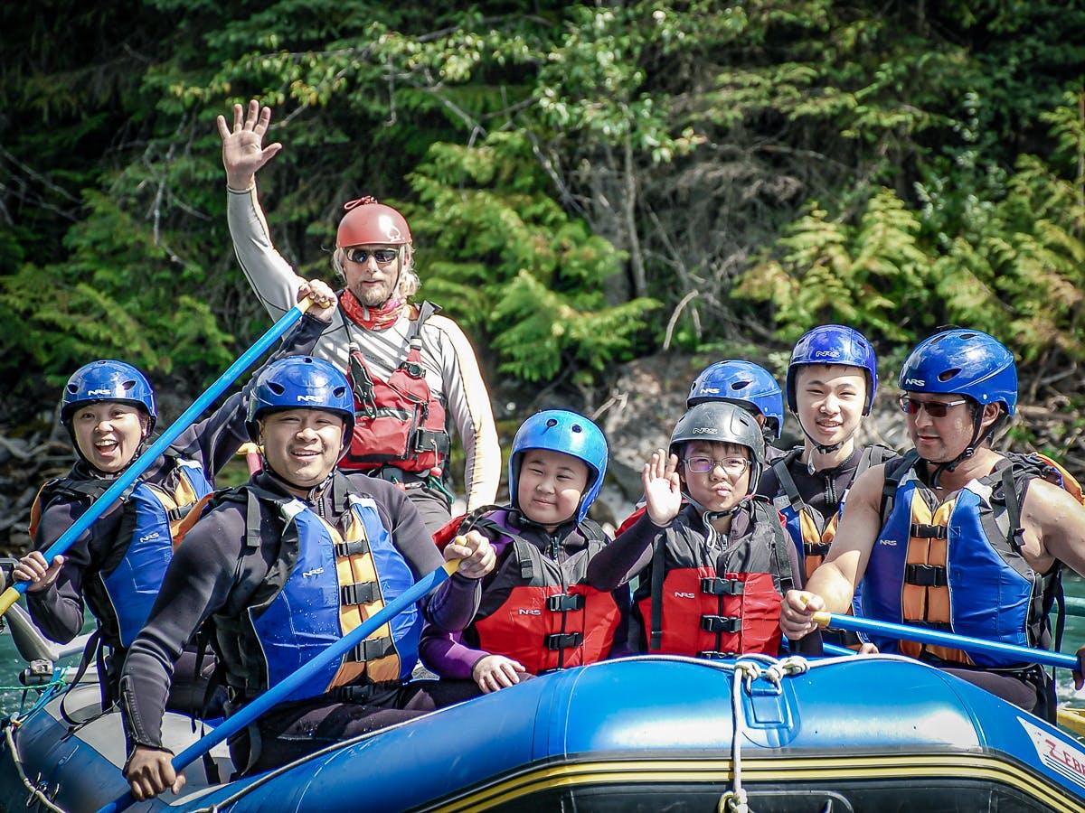 Johnny Chan et al. on a raft