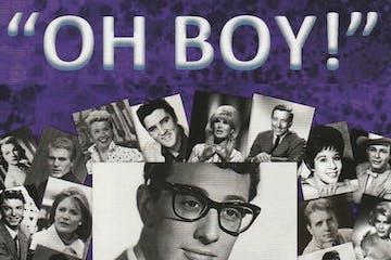 Guy Mitchell, Adam Faith, Elvis Presley, Andy Williams, Eddie Cochran, Helen Shapiro, Jim Reeves posing for a photo