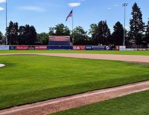 a close up of a baseball field