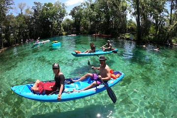Kayaking with Paddles Outdoor Rentals on a guided ecotour of Three Sisters Springs in Crystal River, Florida.