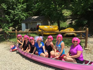 Group in the pink canoe