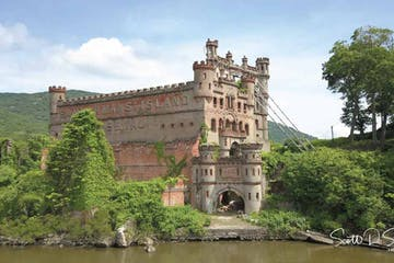 a castle on Pollepel Island over a body of water