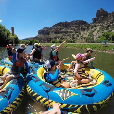 Kids tubing on the Colorado River