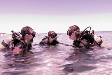 scuba diver getting a refresher course
