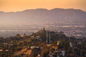 aerial view of LA at dusk