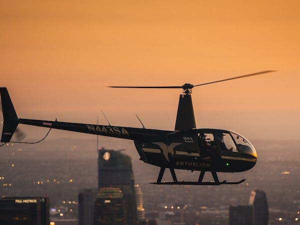 helicopter flying at dusk