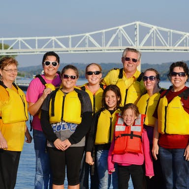 A family picture after a jet boat ride