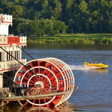 Rockin' Thunder cruising past a river boat