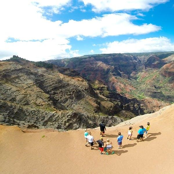 A group looks out into Waimea Canyon