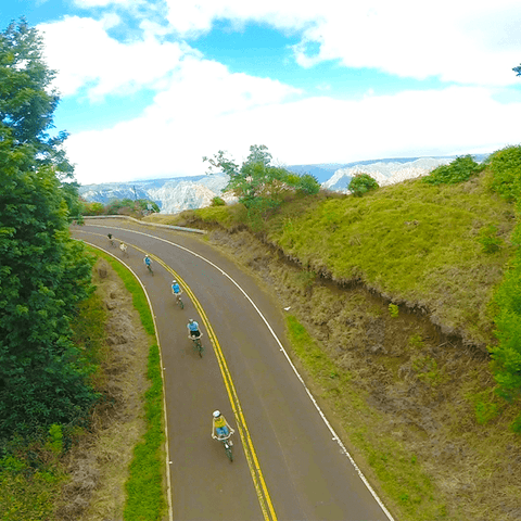 drone photo of a group downhill biking