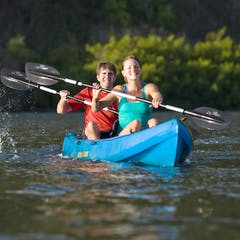 A couple kayaking