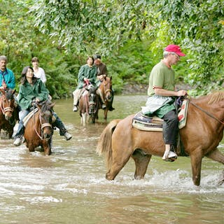 A group rides horses through a river crossing