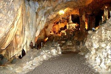 a close up of a cave