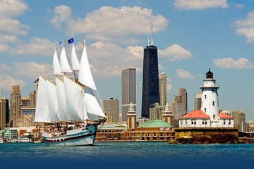 Tall Ship Windy sailing Lake Michigan with Chicago skyline in background