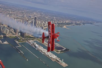 Biplane performing stuns at Chicago air show