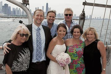 Wedding part aboard the Tall Ship Windy in Chicago, IL