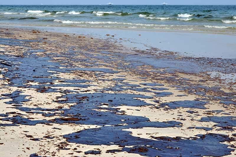 Oil spill on a beach