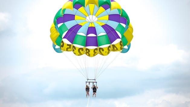 a parachute in the air