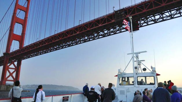 golden gate bridge on bay cruise boat