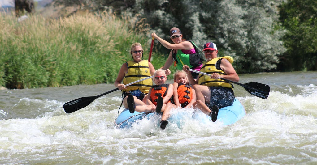 Mild whitewater paddle rafting on the Weber River