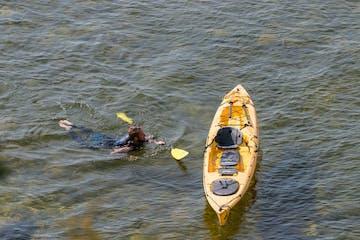 Man swimming to his kayak