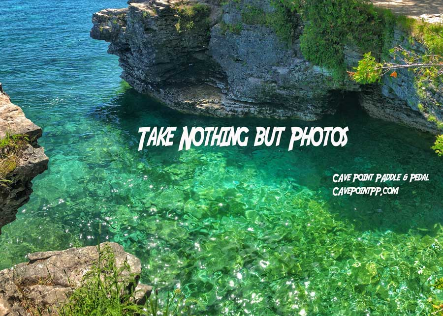 Take nothing but photos quote over the devils bathtub where door county vacationers like to cliff jump