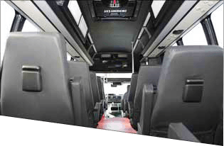 Inside one of the luxury tour vehicles