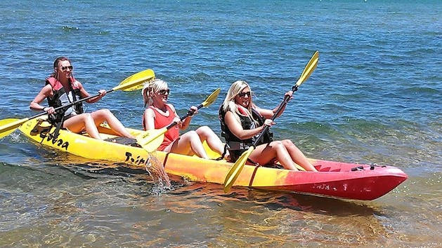 Triple Person Kayak Which Comes With Personal Floatation Devices Paddles And Seats