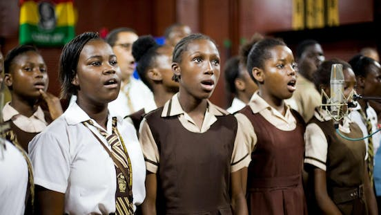 A group of youth singing