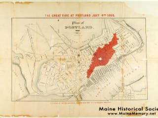 Maine Historical Society Portland Fire 1866 Map