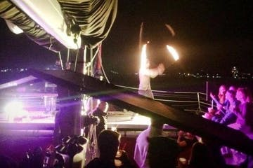 fire show on the Nauti-Cat