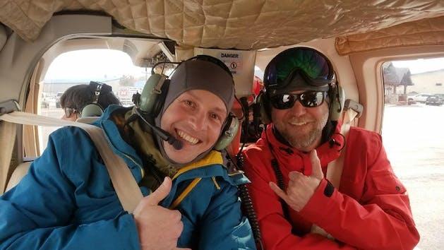 JG and SC in heli cabin